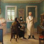 Goethe i sitt arbeidsværelse med skriveren John. Oljemaleri av Johann Schmeller, 1834. Herzogin-Anna-Amalia-Bibliothek, Weimar / Wikipedia Commons