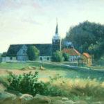Holt kirke. Oljemaleri av Knud Geelmuyden Bull, 1840. Privat eie