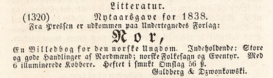 Figur 2. Annonse for Nor i Den Constitutionelle 24.12.1837