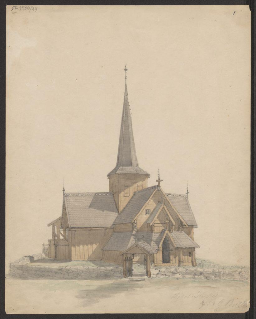 Figur 3. Hedalen stavkirke i Valdres (1853)