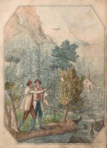 Figur 6. Sagnillustrasjon til Fayes «Hedals Kirke i Valders». 1. utg. av Nor 1838