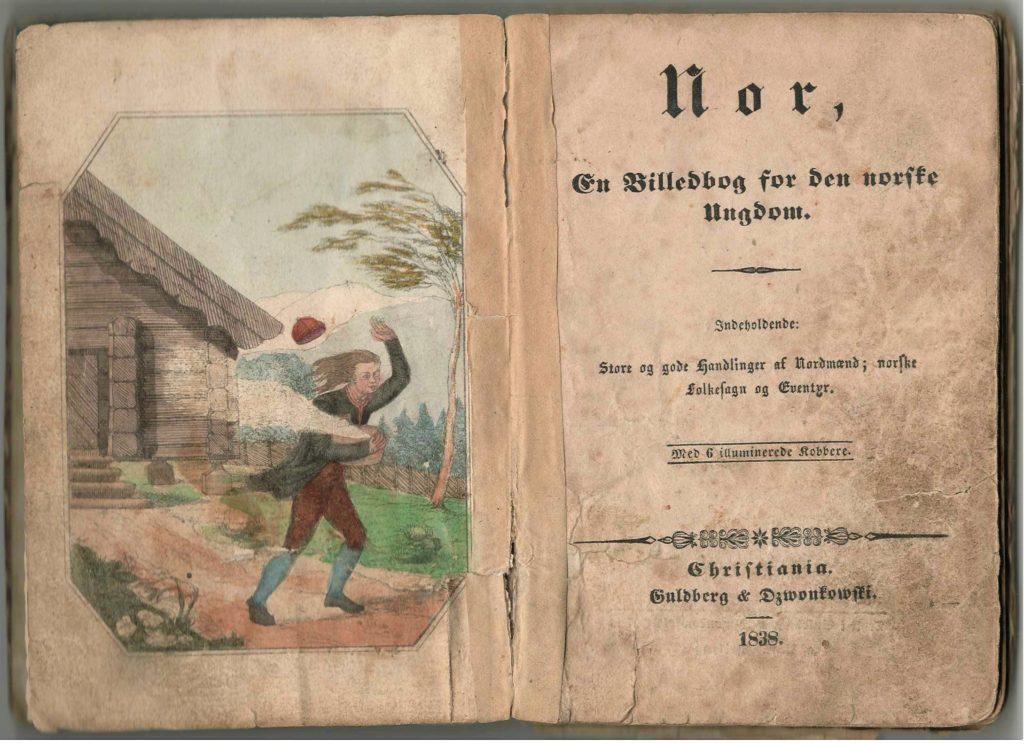 Figur 1. Tittelside til 1. utg. av Nor 1838, med illustrasjon av «Nordenvinden»