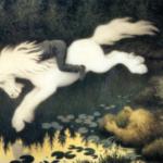 Th. Kittelsen: «Nøkken som hvit hest» 1909. Blandet teknikk. Blaafarveværkeets Kittelsenmuseum, Modum.