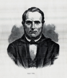 Figur 3. Folkeopplysningsmannen Ole Vig. Kobberstikk etter daguerreotypi ca. 1852.