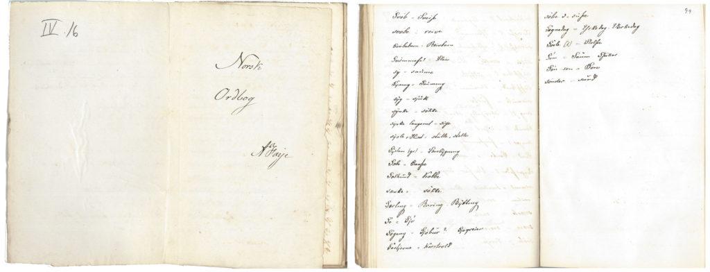 Figur 5. Originalmanuskriptet til Fayes «Norsk Ordbog» som stopper med bokstaven s fra Fayes samlinger i Riksarkivet, arkivreferanse Ra/Pa-0015 Andreas Faye, Fe-L0020/0004 Norsk Ordbog av A. Faye. Et oktavbind (tidligere referanse VI16).