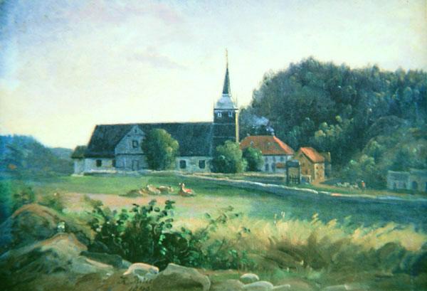 Figur 3: Holt kirke og prestegård rundt tidspunktet lillebror Christian Faye kom til storebror. Oljemaleri av Knud Geelmuyden Bull, 1840. Privat eie