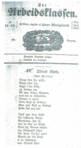 Figur 4: Faksimile fra For Arbeidsklassen nr. 11–12, 27. juni 1842 med Wallins dikt.